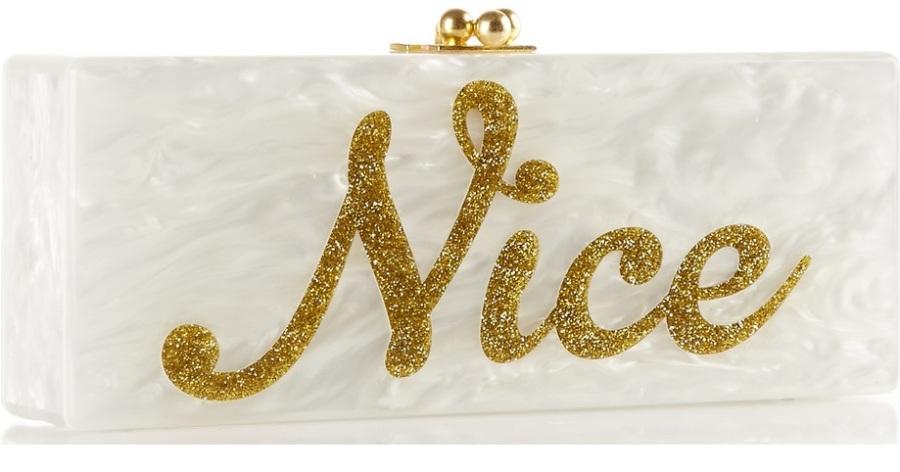 Edie Parker Flavia Naughty/ Nice glittered acrylic box clutch